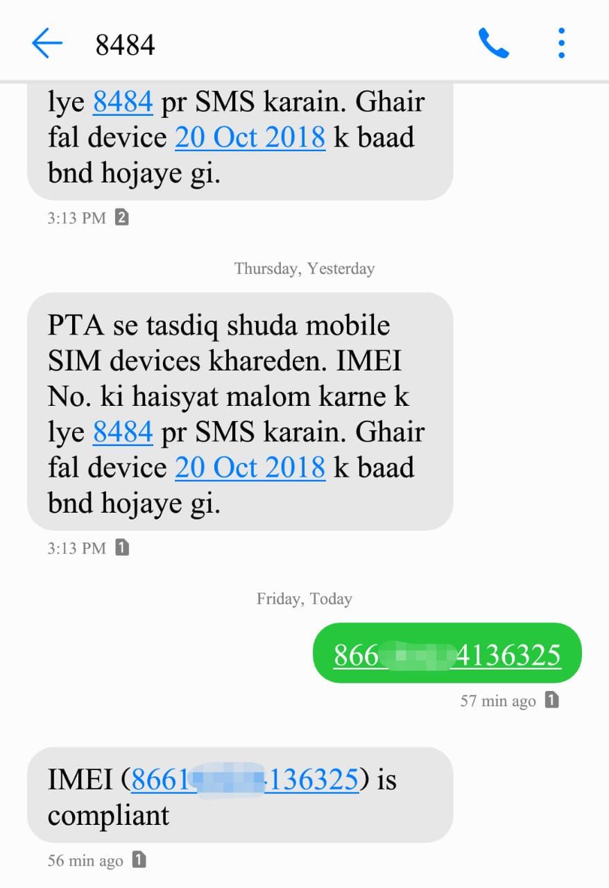 Pakistan Telecommunication Authority Sent a Text Message to all Users to check if their phone is PTA certified All sim devices will be blocked after 20 october 2018