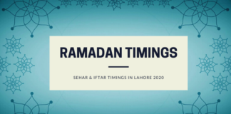 Ramdan2020Calendar - Sehar and Iftar Timings of Lahore Ramadan 2020 -1