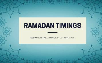 Ramdan2020Calendar - Sehar and Iftar Timings of Lahore Ramadan 2020 -1